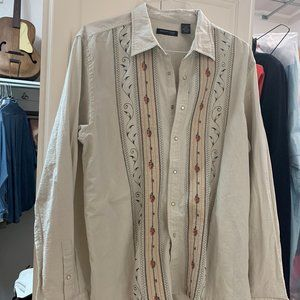 Men's Long Sleeve Button Front Pearl Snap Shirt
